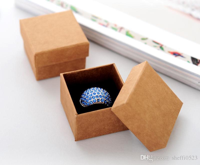 Fashion Classic Jewelry Packing Box American Kraft paper Ring Packing Box High Quality 800g Cardboard Earrings Jewlery Packing Box