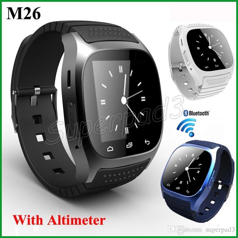 5 pcs livre dhl smartwatch m26 bluetooth sem fio relógio de pulso inteligente para iphone samsung htc android vida telefone à prova d 'água relógio para mulheres dos homens