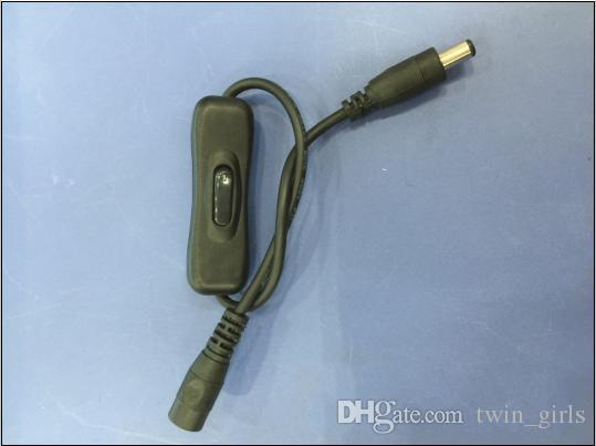 Vente en gros-Câble de commutateur à bascule avec connecteur CC mâle / femelle de 5,5x2,1 mm pour le ruban noir DHL