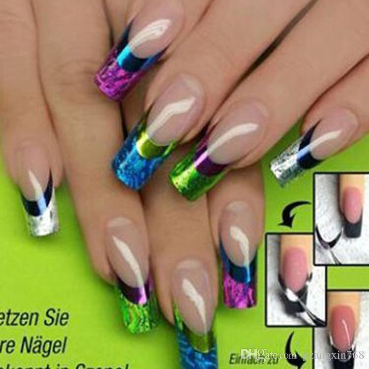 3d Nail Art Stickers Decal Cute Multi Color French Tips Nail Decal ...