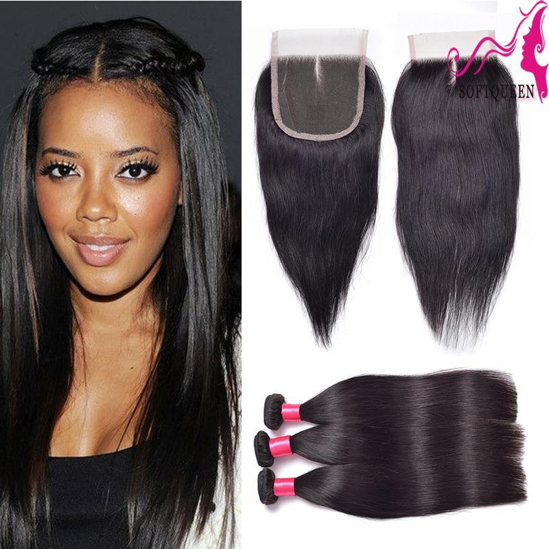 Siyah Kadınlar için Inidan Remy Düz Saç 3 Demetleri Ve 1 adet Üst İnsan Saç Örgüleri Ile Dantel Kapatma Güzellik Kapaklar 4 adetgrup