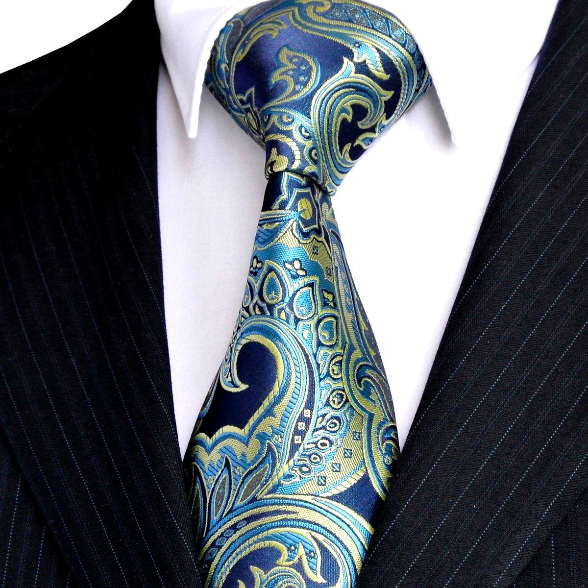 E07 الرجال رابطات عنق الزهور الأزرق الداكن أزور العلاقات الأصفر 100٪ إكسسوارات الحرير الجاكار المنسوجة بالجملة المتأنق العلامة التجارية الجديدة شحن مجاني