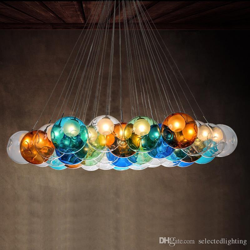 Lampade a sospensione in vetro colorato a bolle G4 Lampade a sospensione 110V 220V Lampada a sospensione a sospensione design Bar Cafe Lampada multi colori disponibili