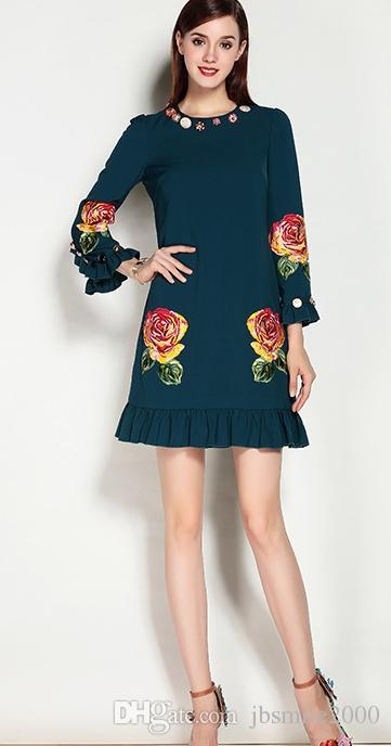 осеннее новое платье, европейская и американская трехмерная вышивка, платье с длинным рукавом, пуговица на спине, юбка-линия костюм в молодом1626353142