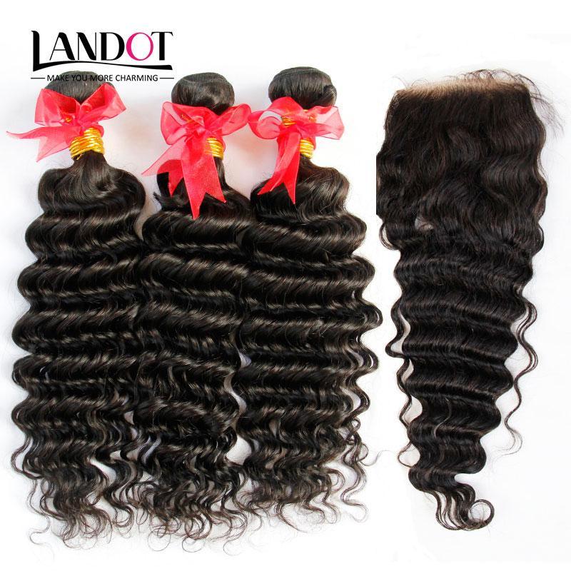 4 Bundles Lot Brazilian Deep Wave Curly Virgin Hair Weaves With Top Lace Closures Unprocessed Malaysian Peruvian Indian Mongolian Human Hair