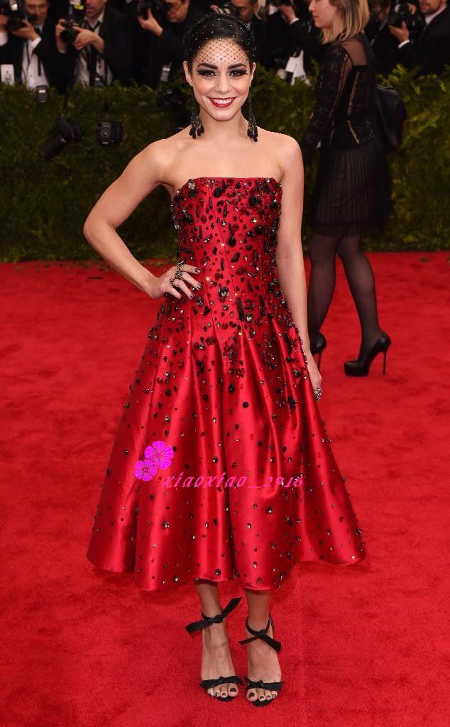 2016 Met Gala Vanessa Hudgens Red Carpet Prom Dresses With Strapless ...