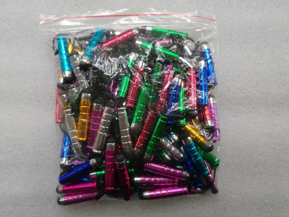 100pcs penna stilo in plastica universale per tablet touch screen capacitivo PC PDA telefoni cellulari smart con tappi antipolvere touch penna a colori