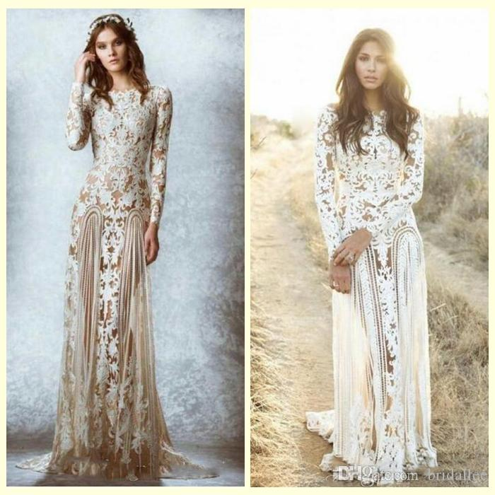 Zuhair Murad Lace Vintage Wedding Dresses Custom Made Long Sleeves Court Train Beach Country Bridal Gowns Crew A-line Stunning Lace