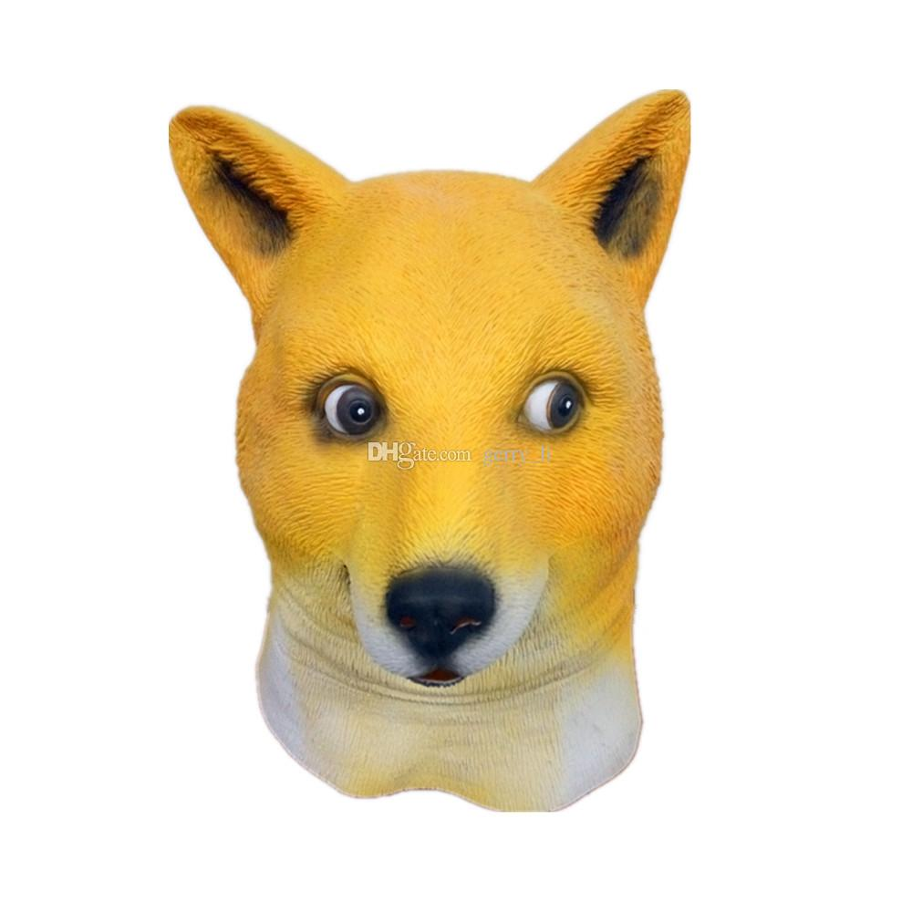 Funny Yellow Dog Head Mask Cartoon Latex Full Face Animal Mask Cosplay Masquerade Carnival Costume Party Mask Halloween Mask For Men Women