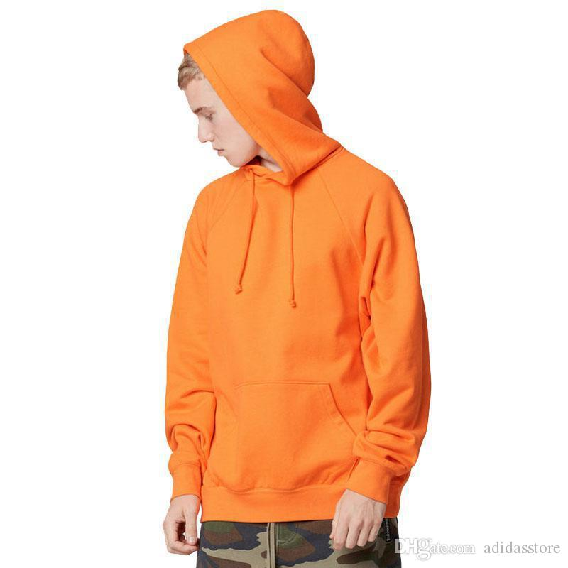 Moda cor laranja hooides homens roupas grossas de inverno camisolas homens Hip Hop Streetwear sólido fleece homem com capuz