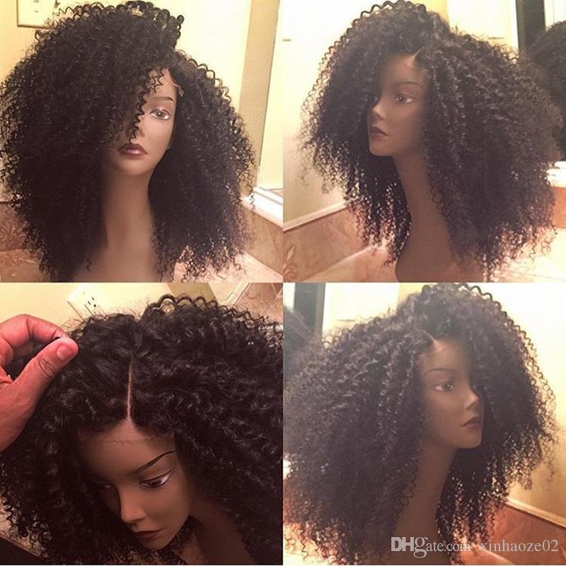 Top Quality 100% Virgin Brazilian high Density 10-26 Inch silk top Full Lace Wigs Kinky Curly Human Hair wigs for Black Women
