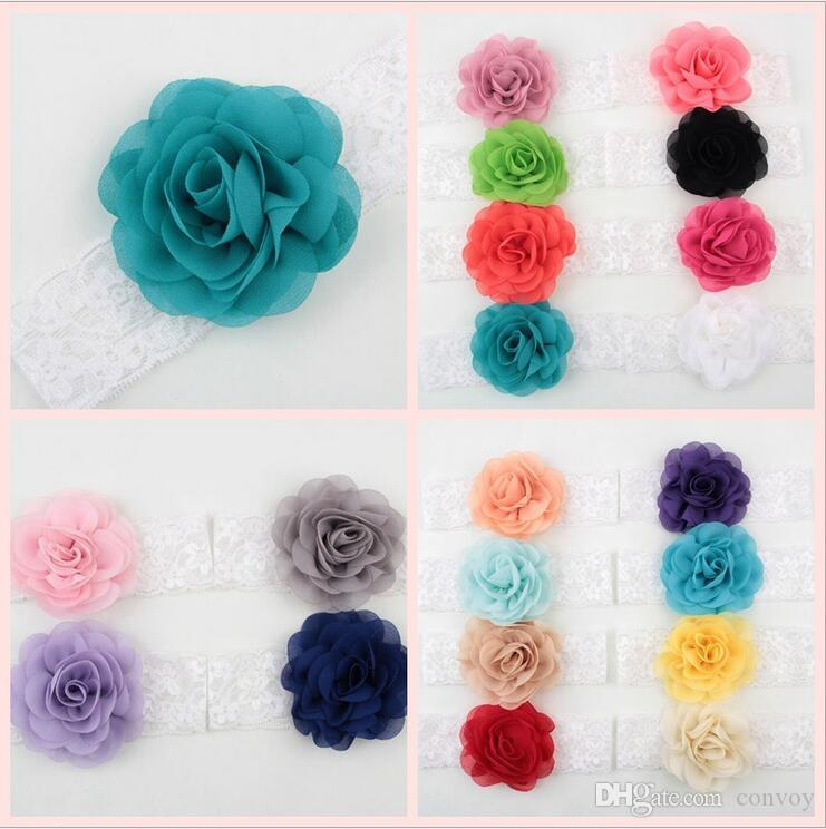 20 Colors NEW Girls Kids Wide Lace Chiffon Flower Headbands Baby Elastic Rose Hairbands Infants Hair Accessories Princess Headdress KHA344