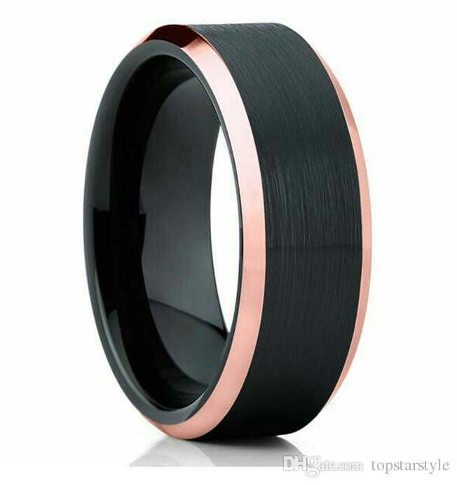 Brushed Tungsten Carbide Ring Wolframu black plated and rose gold bevel polished edges hot sales for Gift Anniversary for Men 8mm wide