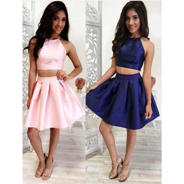 섹시 핑크 또는 블루 짧은 칵테일 드레스 2016 라인 새틴 두 조각 파티 8 학년 동창회 드레스 가운 드레
