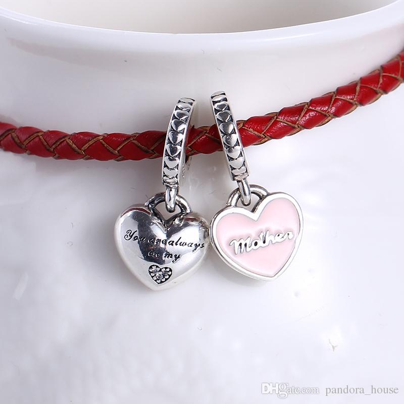 100% Real 925 Sterling Silver Non Plaqué Mère et Daugther CZ Charmes Charmes Européens Perles Fit Pandora Bracelet Bijoux DIY