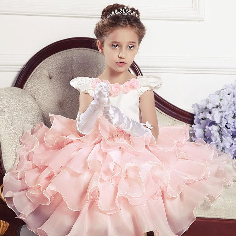 Gold Flower Girl Dresses Toddler Birthday Wedding Bridesmaid Formal Baby Party