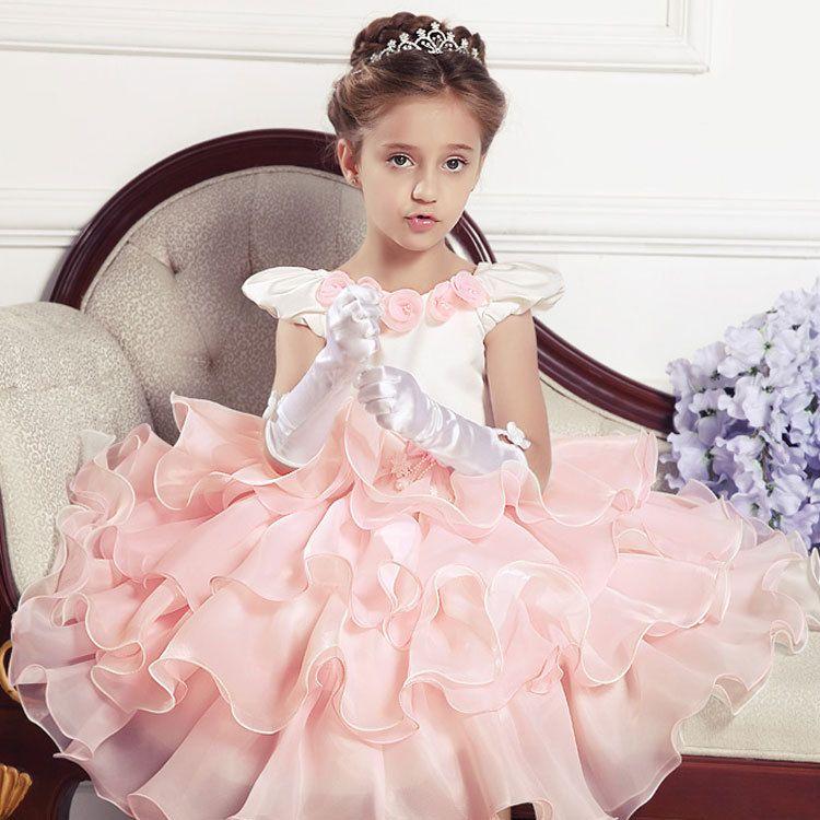 Girls Sweet Noble Falbala Shrug Princess Dress Formal Prom Wedding
