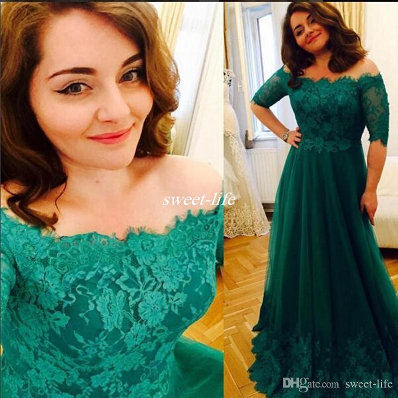 Elegant Plus Size Long Prom Dresses Green Lace Off Shoulder Half Sleeves  Full Length 2020 Arabic Formal Wear Evening Gowns Proms Dresses Retro Prom  ...