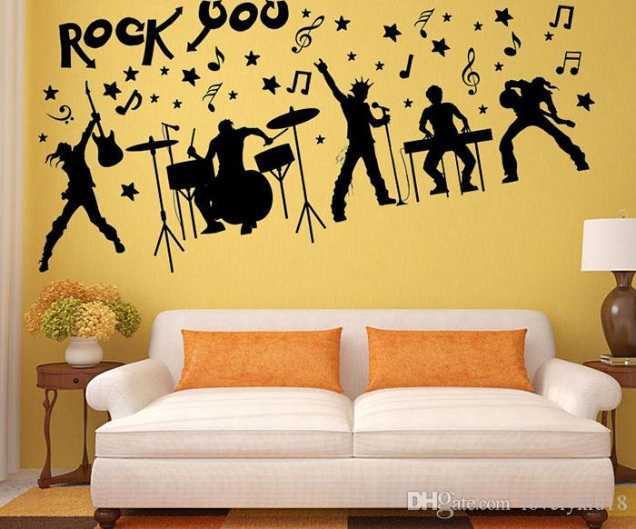 Fashion Rock Band Wall Stickers Music Notes Figure Wall Decals Art ...