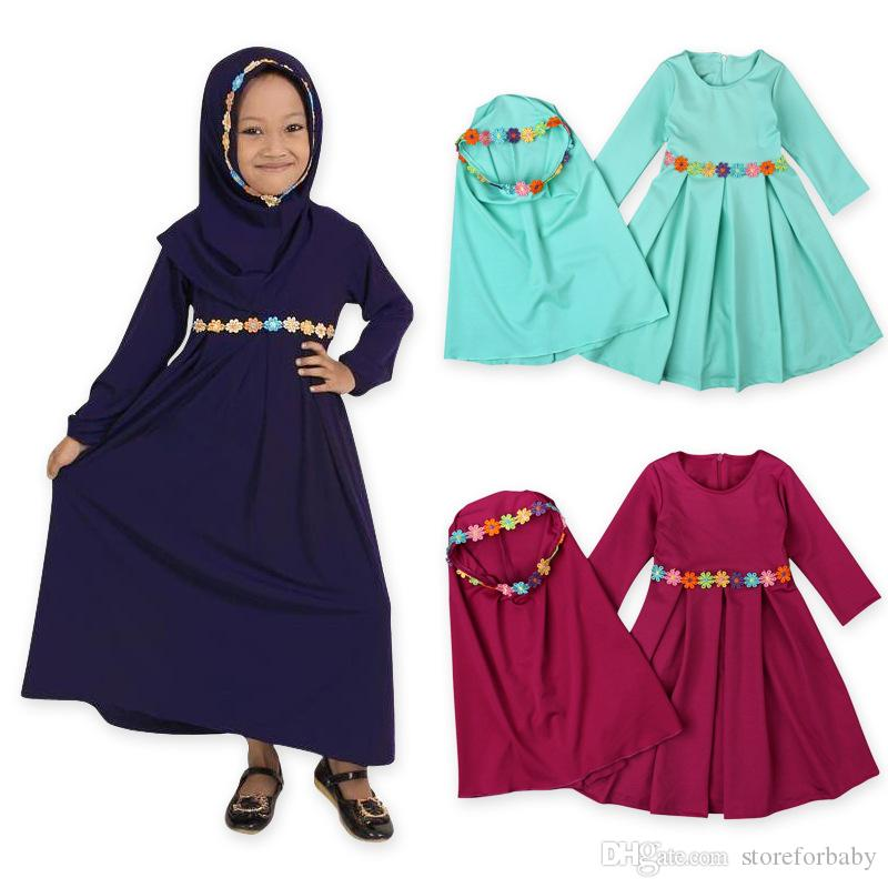 2018 New arrived kids girls muslim gowns baby girl spring autumn long sleeve dress + scarf 2pieces children girl dresses clothing sets