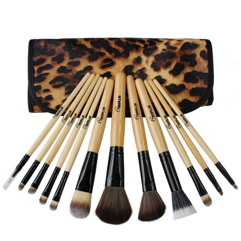 بوب سيكس بلس 12 قطعة فرش ماكياج ليوبارد طقم أدوات ماكياج خشبي خشبي المهنية Pinceis منتجات التجميل مجموعة