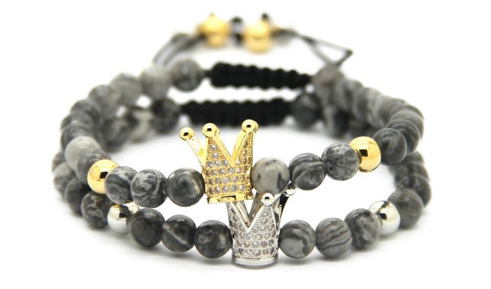 Großhandel 10pcs neue Design Schmuck 6mm grau Jaspis Sediment Stein Gold und Platin Krone geflochtene CZ Perlen Armbänder Geschenk