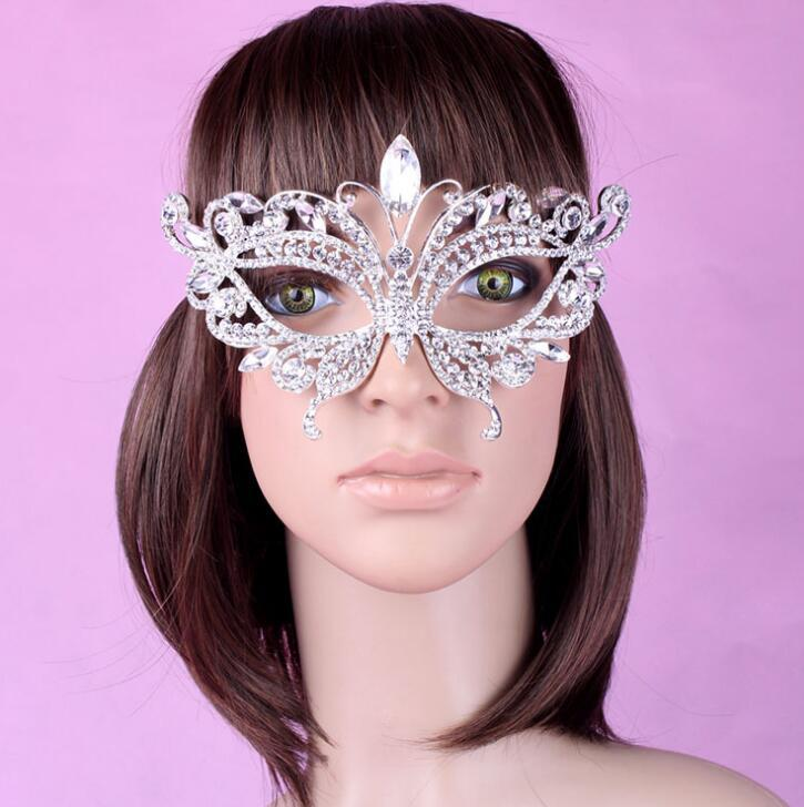 Artificial Diamond alloy crown set auger mask bridal mask artificial crystal masks luxury Costume party supply free shipping HT97