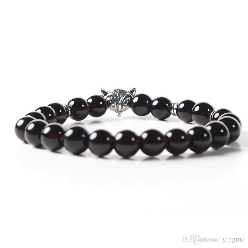 New male bracelet Natural Stone Alloy silver gold Animal fox 8mm beads with volcanic rock men women Jewelry Lava Yoga Bracelets gift