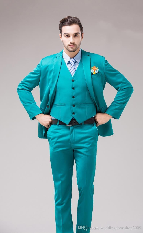 Fsahion Groom Tuxedos Notch Lapel Men\'S Suit Turquoise Groomsman ...