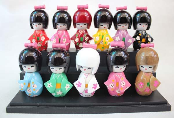 6pcs three szie 9 cm CUTE collectibles Japanese Wooden Doll KOKESHI with KIMONO Figure,doll girls kids gift