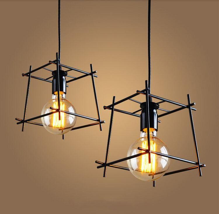 American Loft Vintage suspension personnalité personnalité feux en fer forgé Edison lampe nordique lampe cage industrielle luminaires