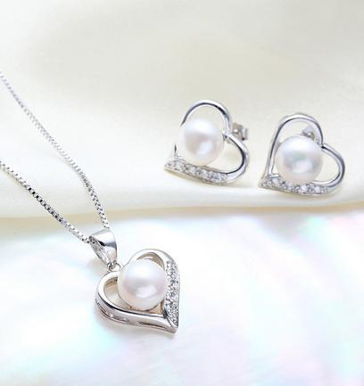 Wholesale Love style 8-9mm oval two - piece of natural pearl earrings pendant necklace S925 silver accessories