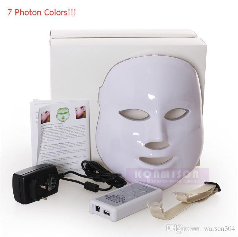 Máscara facial de uso en el hogar LED 7 colores PDT Photon Therapy mascarilla para el rejuvenecimiento de la piel Eliminación de arrugas Tratamiento para el acné Envío de DHL