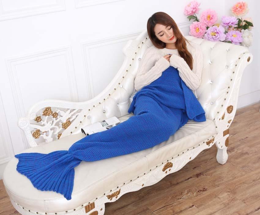 Yarn Knitted Mermaid Tail Blanket Handmade Crochet Mermaid Blanket Kids Throw Bed Wrap Super Soft Sleeping Bed X184 (8)