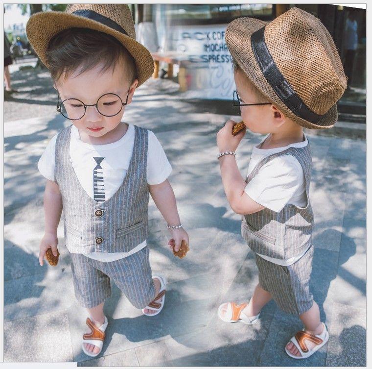 2016小さな男の子紳士スタイル夏のストライプ服セット赤ちゃんの男の子半袖Tシャツ+ウイストコート+ショートパンツ3個セット子供のスーツ子供の衣装