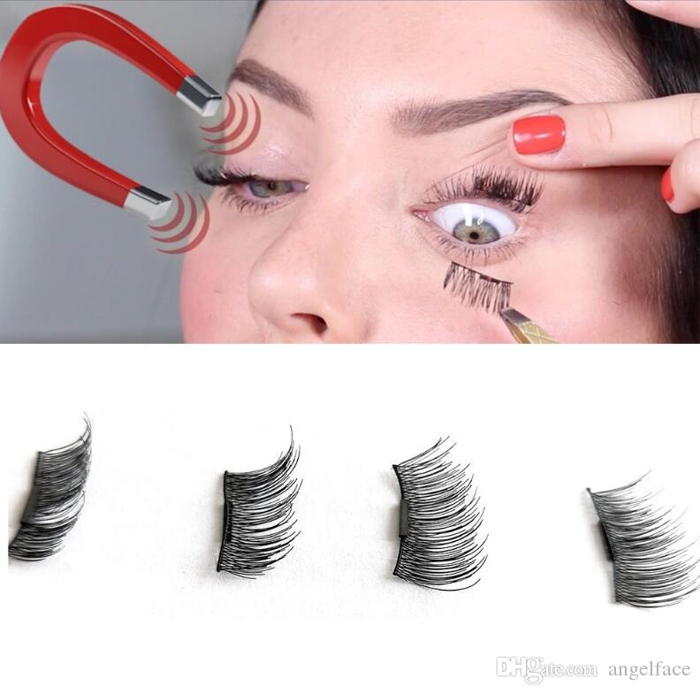 Reusable Magnetic Eye Lashes 3D False Magnet Eyelashes Extension 3D Fake Eyelashes magnetic eyelashes 4pcs=1pair with retail package
