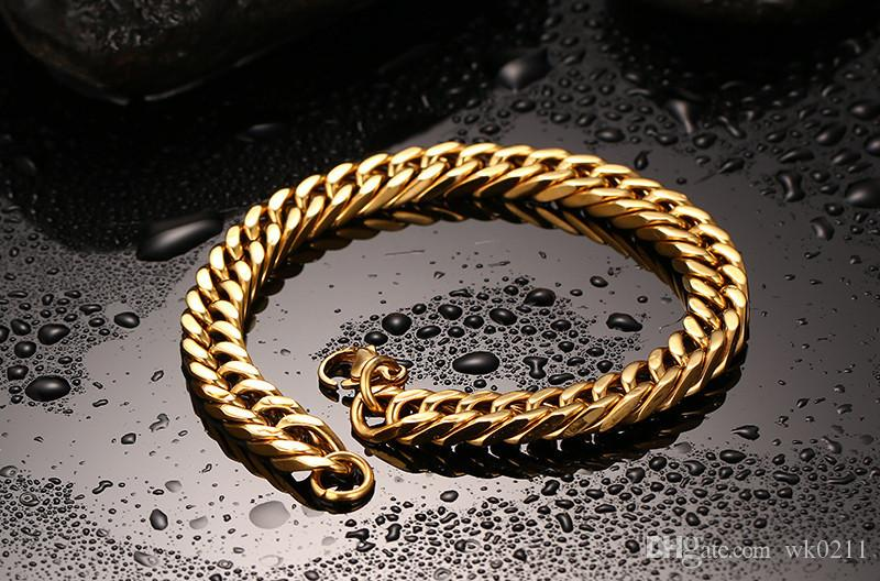 Fashion Chain Bracelets Bangles Gold Plated 316l Stainless Steel Men Charm Jewelry Drop Ship Sales