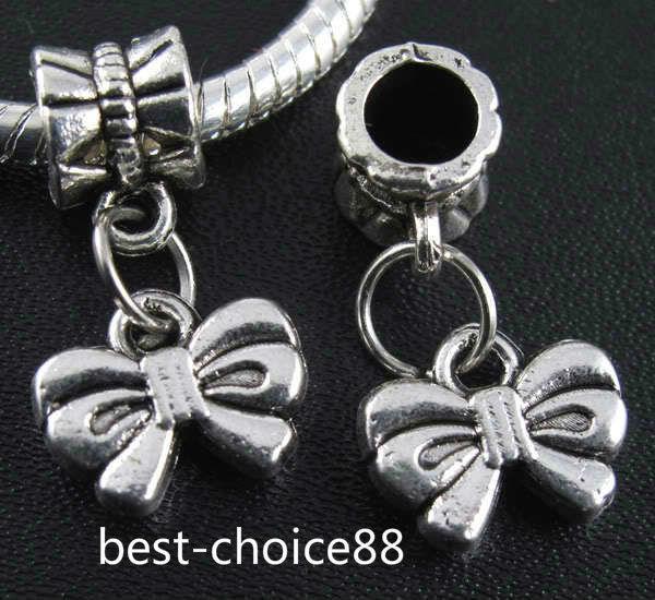 100 PCS Argent Tibétain bowknot Charmes Pendentif Dangle Perles Fit Européenne Bracelet 20mm
