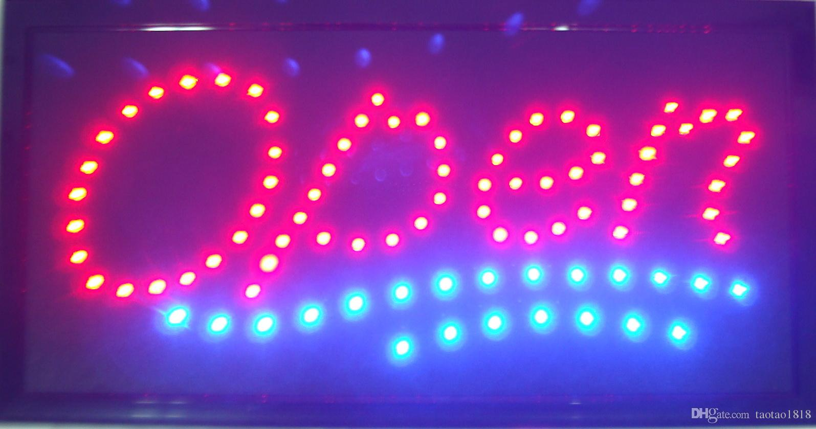 Open Sign High Visible Bright Stylish 2 Colors Led Moving Flashing Animated Neon Sign Motion Light Off Switch Button Chain 19x10 for Busines