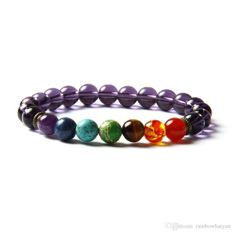 Heißer Verkauf 7 Chakra Heilstein Yoga Meditation Armband 8mm lila Glasperlen mit natürlichem Sediment, Tigeraugenstein und Kristall-Stretch