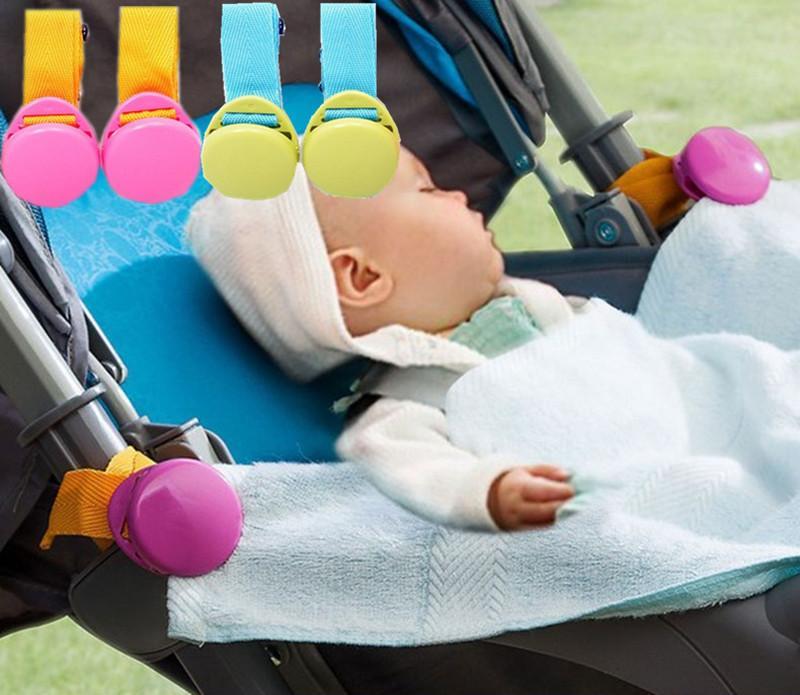4PC 다기능 아기 유모차 후크 담요 가을 방지 클립 유모차 액세서리