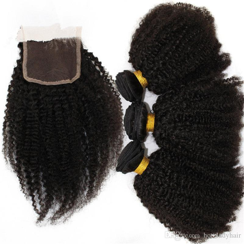 7A Human Hair Weave Brazilian Afro Kinky Curly With Closure Free Middle Three Part Lace Closure With Bundles Free Shipping