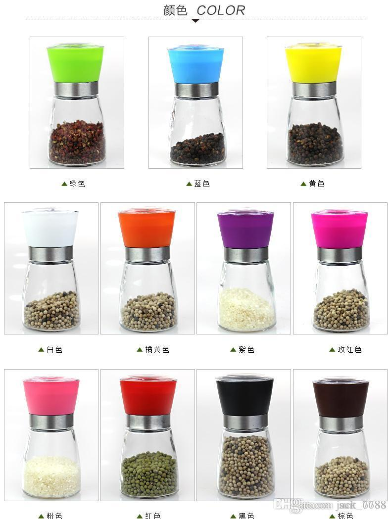 free shipping factory selling HPractical household glass grinder pepper grinder grinding manual bottle unleaded glass grinding pepper bottle