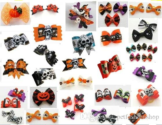 100pcs/lot Big Sale Halloween Pet Dog Hair Bows bowknot hairpin head flower Pet Supplies Grooming Holiday Dog Accessories Y10