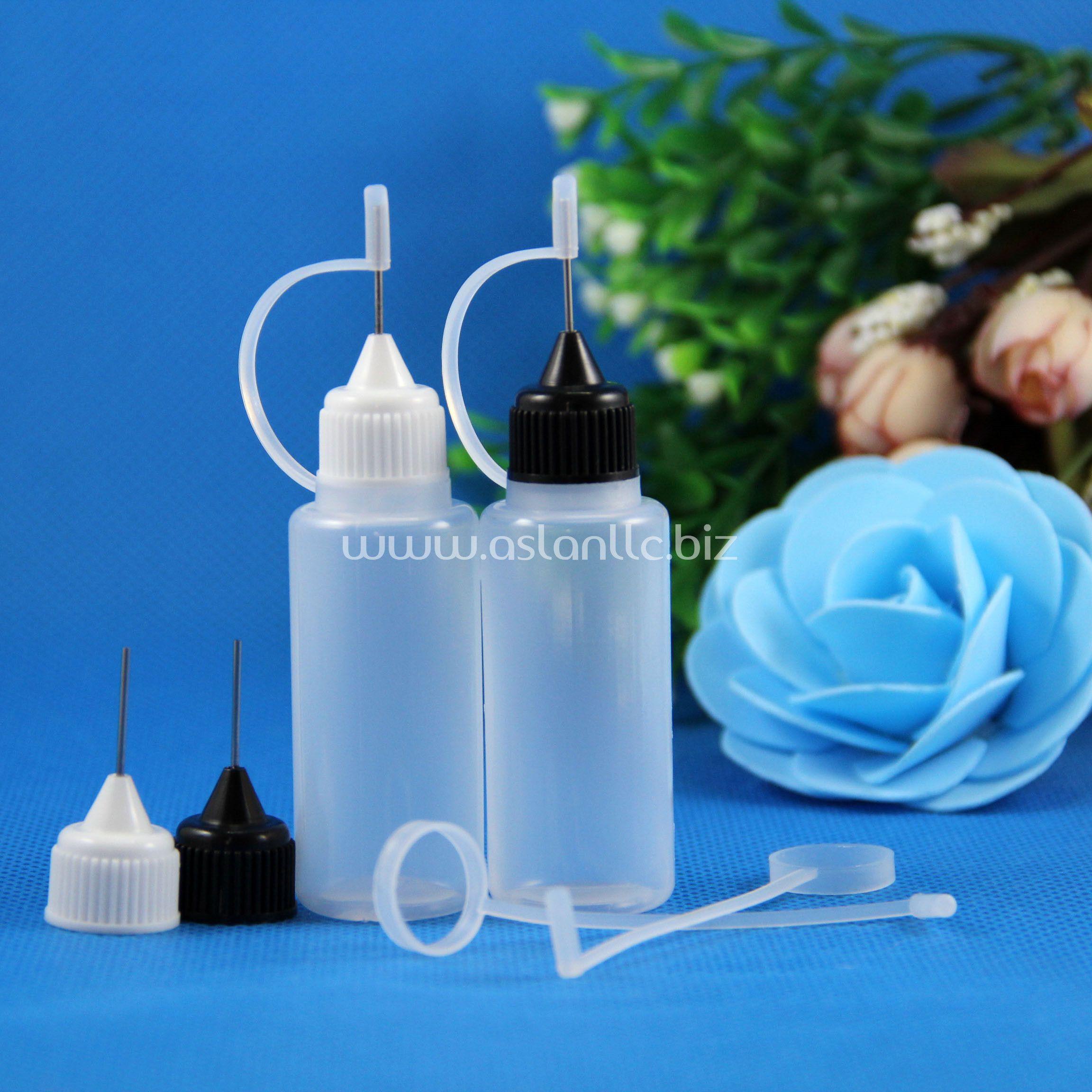 100 sets / partij 20 ml plastic metalen naald druppelaar flessen rubberen veilige tips LDPE vloeibare oogdruppels e damp olie 20 ml