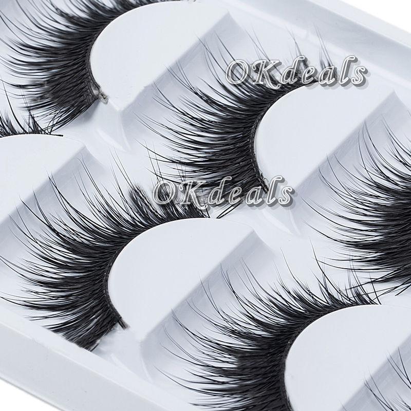 Gros-5 Paires Lot Noir Naturel Épais Faux Cils Doux Long Maquillage À La Main Faux Cils Extension D'oeil