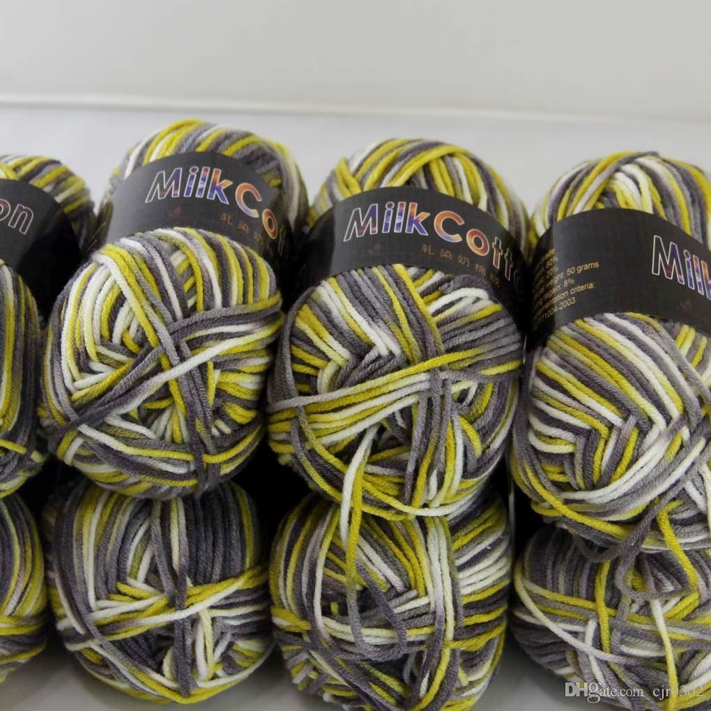 SOFT 6BALLSX50G Newcotton Barwione Ręcznie Dziewiarskie Skarpety Wełniane Szalik Baby Yarngray Żółty Mieszany 18