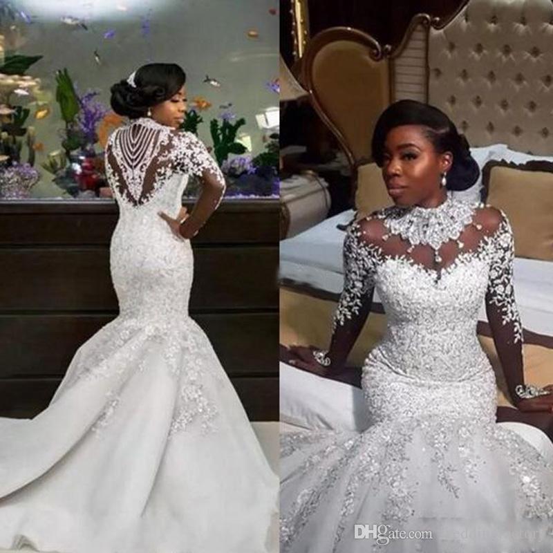 Manches longues col haut de luxe de luxe robes de mariée cristaux perlés appliques de dentelle Illusion Retour robes de mariée africaine