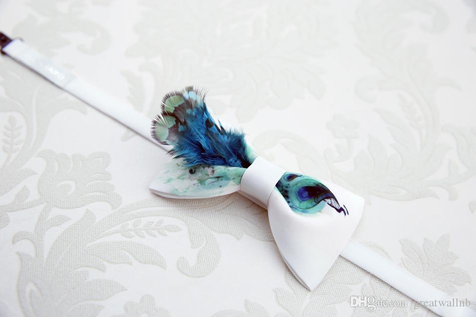 Freeship Herren Luxus 100% natürliche Feder decorationwhite Fliege / Fliege / Bühne Hochzeit / Bühne Leistung Smoking Fliege