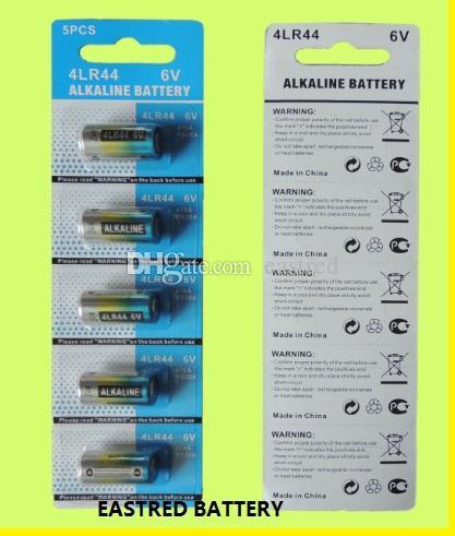 Eines Los ist 800 PACKS 4LR44 6V alkalische Batterie 5 / Blisterkartenpackung und 3000pcs Schrumpfverpackung